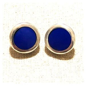 Mexico Sterling Silver Earrings with Blue Stone